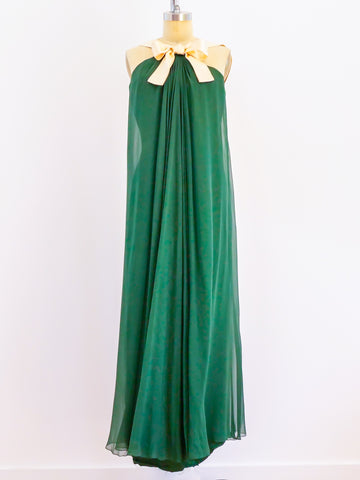 Silk Chiffon Gown with Satin Bow
