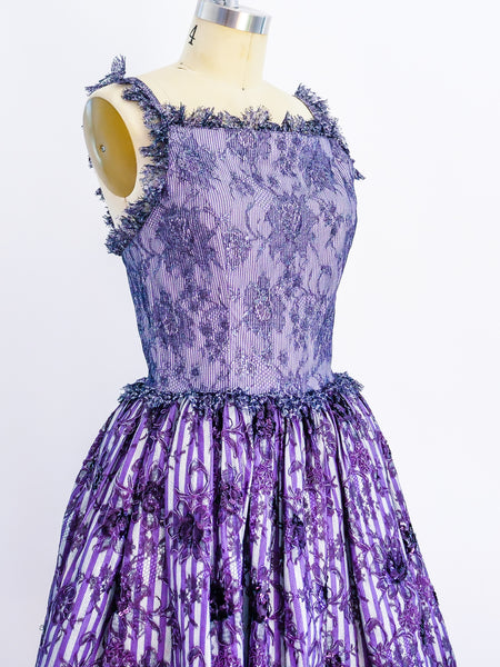 Geoffrey Beene Purple Lace Cocktail Dress