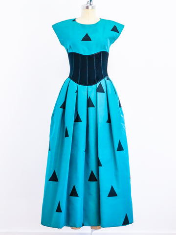 Geoffrey Beene Teal and Black Triangle Print Silk Gown