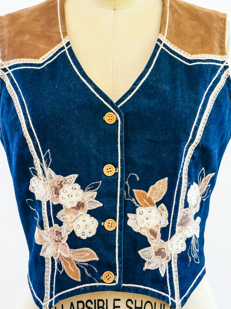 Floral Applique Denim and Suede Vest