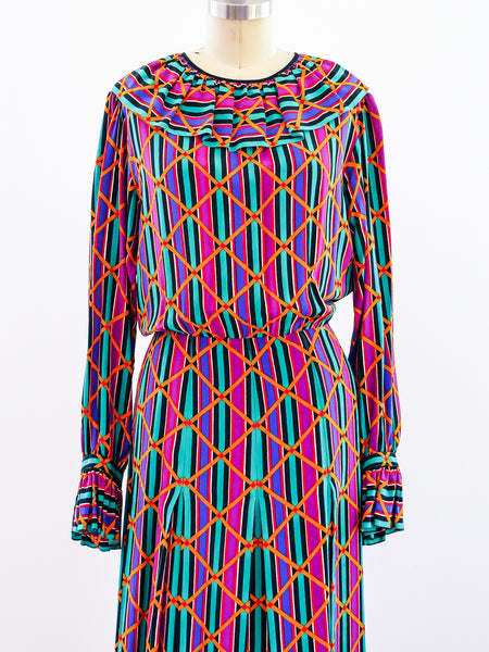 Yves Saint Laurent Printed Silk Dress
