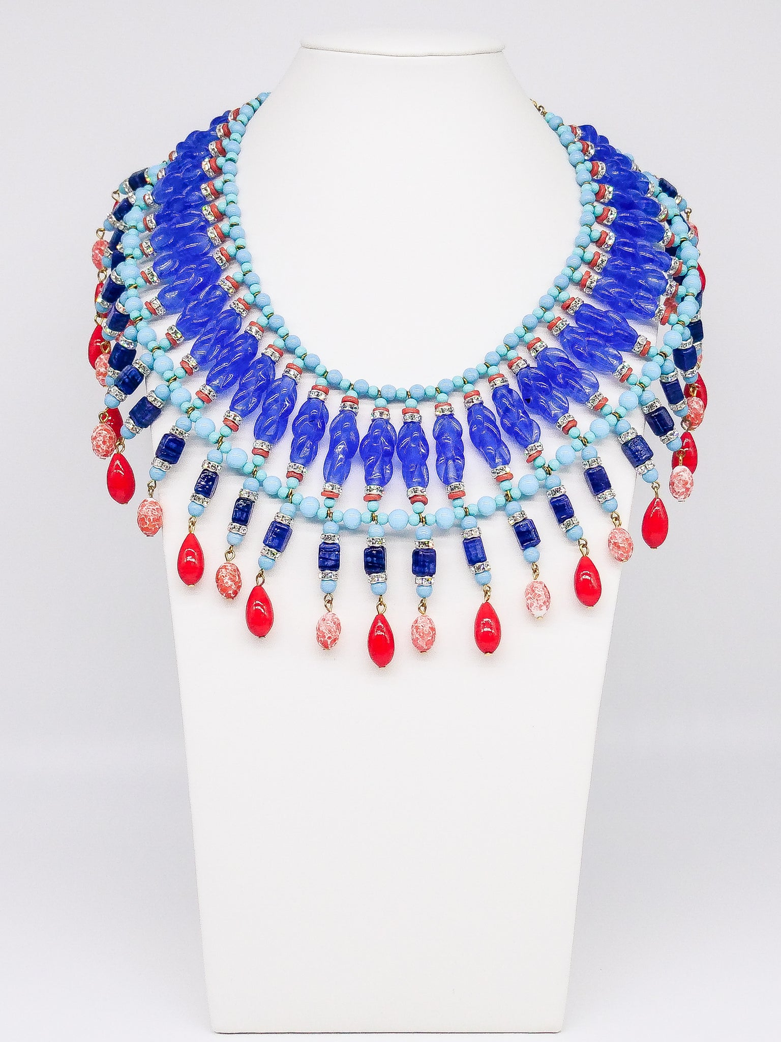 Egyptian Revival Fringed Bib Necklace
