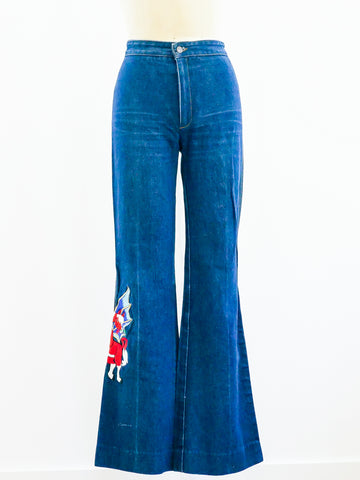 Embroidered High Waist Flare Jeans
