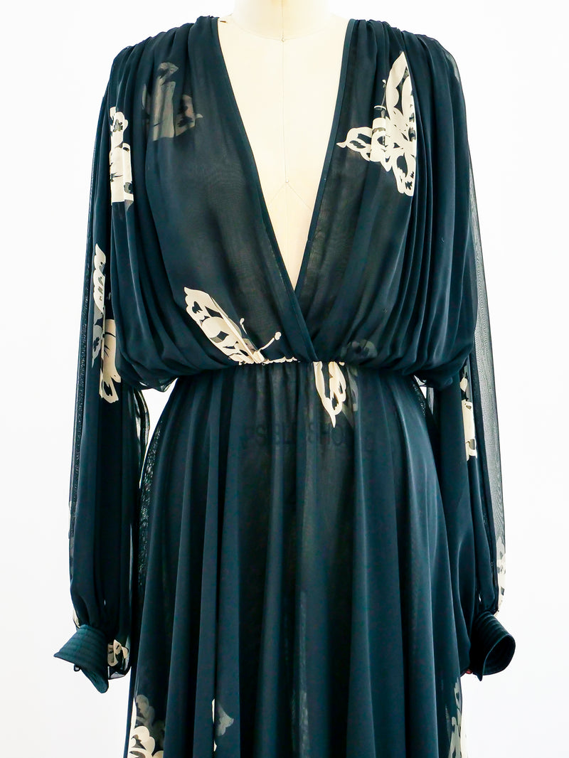 Wayne Clark Butterfly Chiffon Dress
