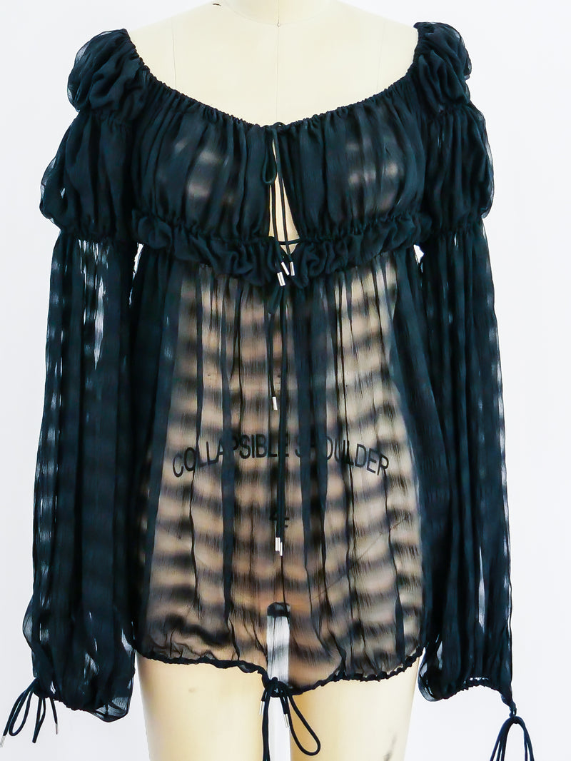 Christian Dior silk chiffon peasant top