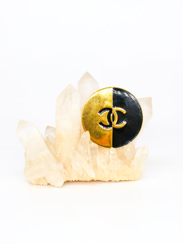 Chanel Enamel Logo Button Brooch