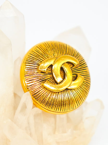 Chanel Textured Logo Button Brooch