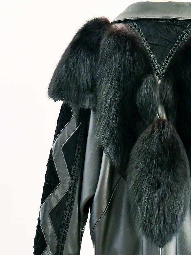 Removable Sleeve Leather and Fur Jacket
