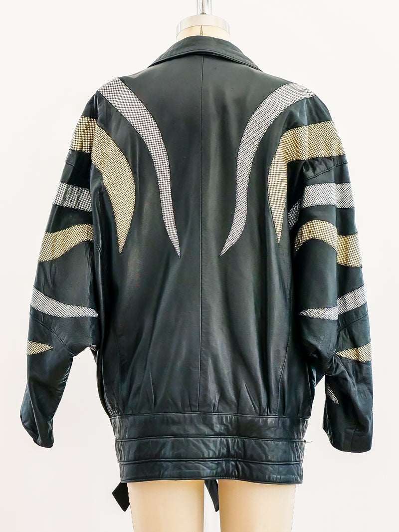 Metallic Flame Leather Jacket