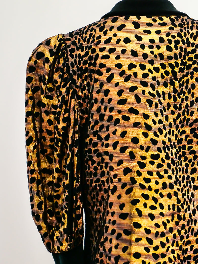 Gold Lurex Leopard Print Jacket
