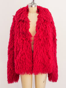 Red Shag Yarn Jacket