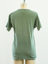 Overdyed Sage Green V Neck Tee