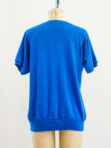 Blue Blank Short Sleeve Sweatshirt