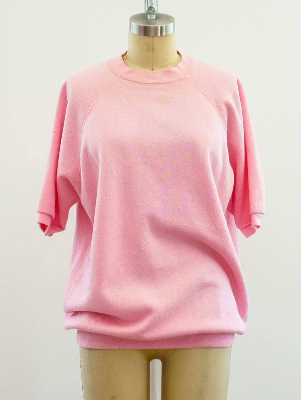 Pale Pink Blank Short Sleeve Sweatshirt