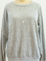 Paint Stained Heather Grey Long Sleeve Sweatshirt