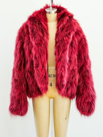 Dyed Red Fox Fur Coat