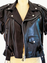 Short Sleeved Leather Motorcycle Jacket