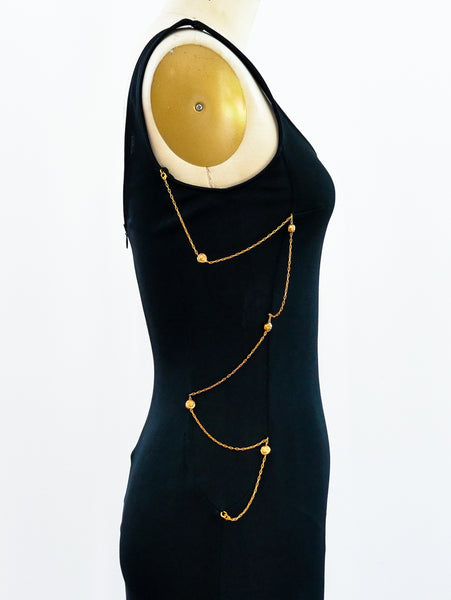 Versace Chain Embellished Jersey Dress
