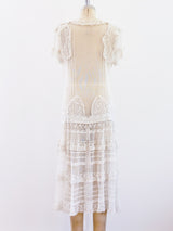 1920s French Net and Lace Dress