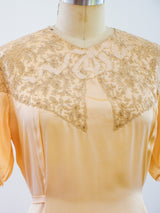 1920s Peach Silk Nightgown