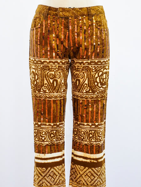 Jean Paul Gaultier Printed Sequin Pants