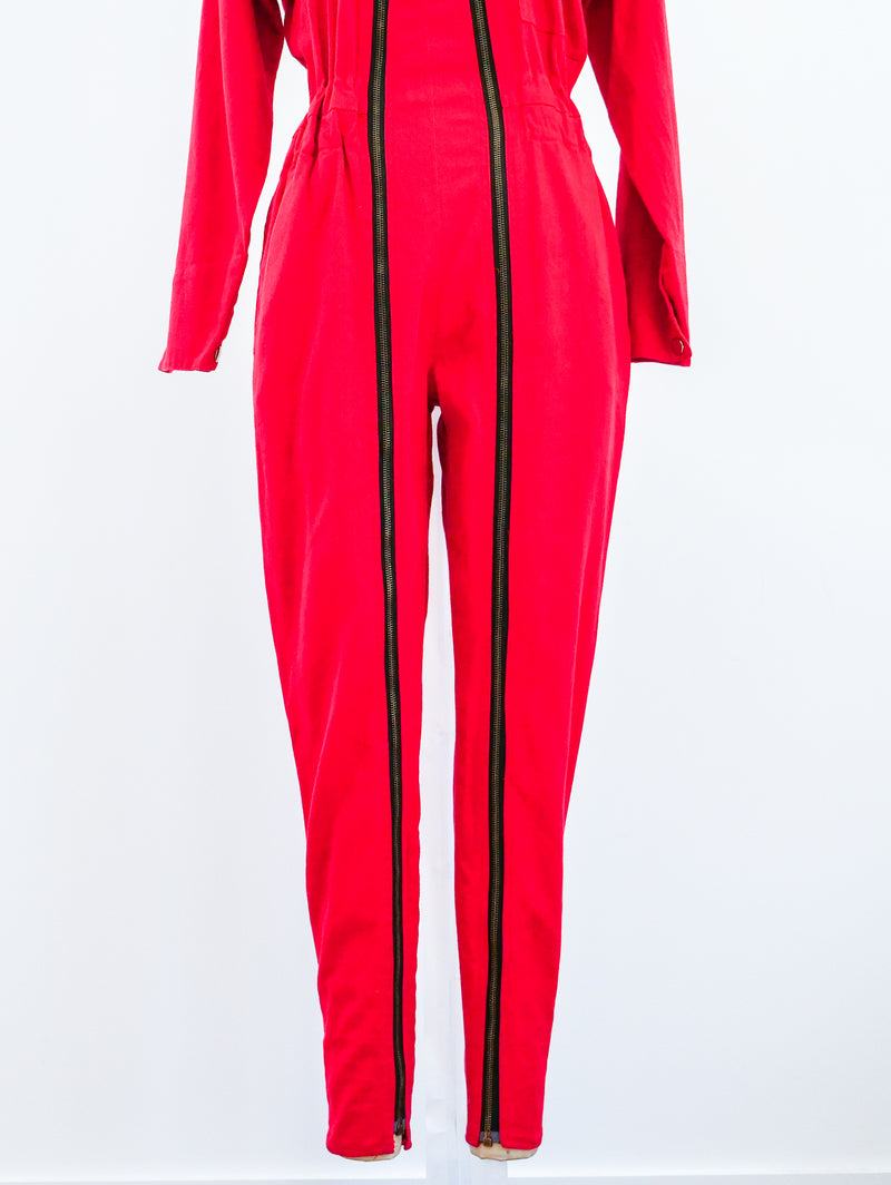 Red Denim Double Zip Jumpsuit