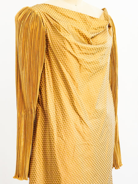 Jeanne Marc Pleated Sleeve Dress