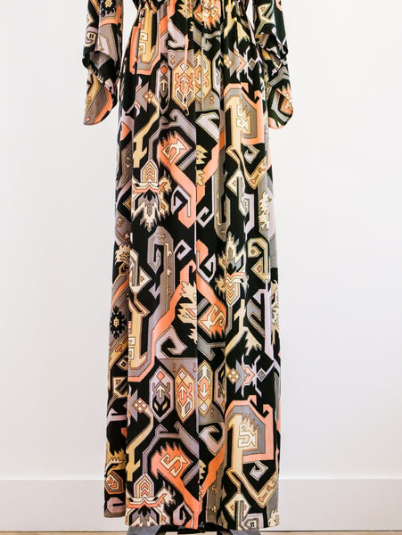 Geometric Printed Wrap Duster