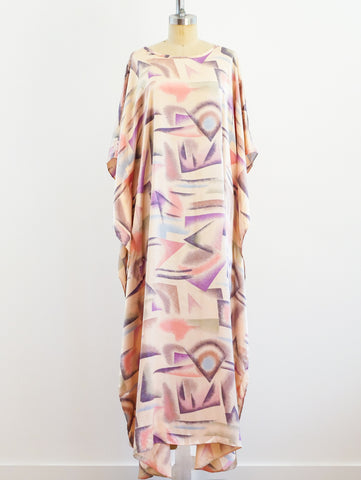 Abstract Airbrush Print Satin Caftan