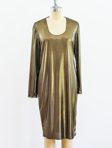 Frances La Vie Gold Lame Jersey Dress