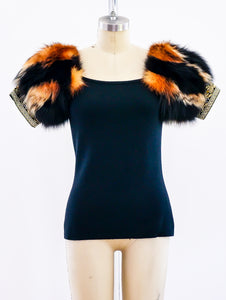 Ferre Knit Top with Fur Sleeves