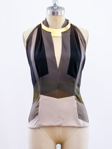Gucci Silk Halter with Goldtone Collar