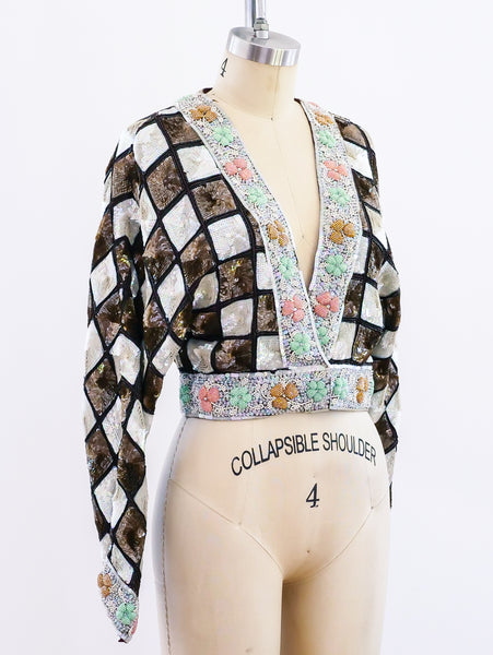 Checked Sequin Cropped Jacket
