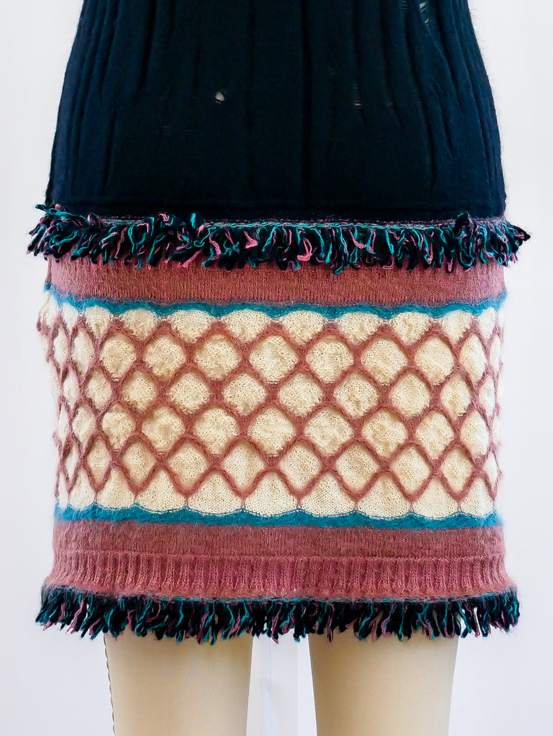 M Missoni Knit Fringed Knit Dress
