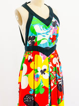 Psychedelic Floral Open Back Dress