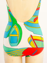 Hermes Nautical Print Bathing Suit