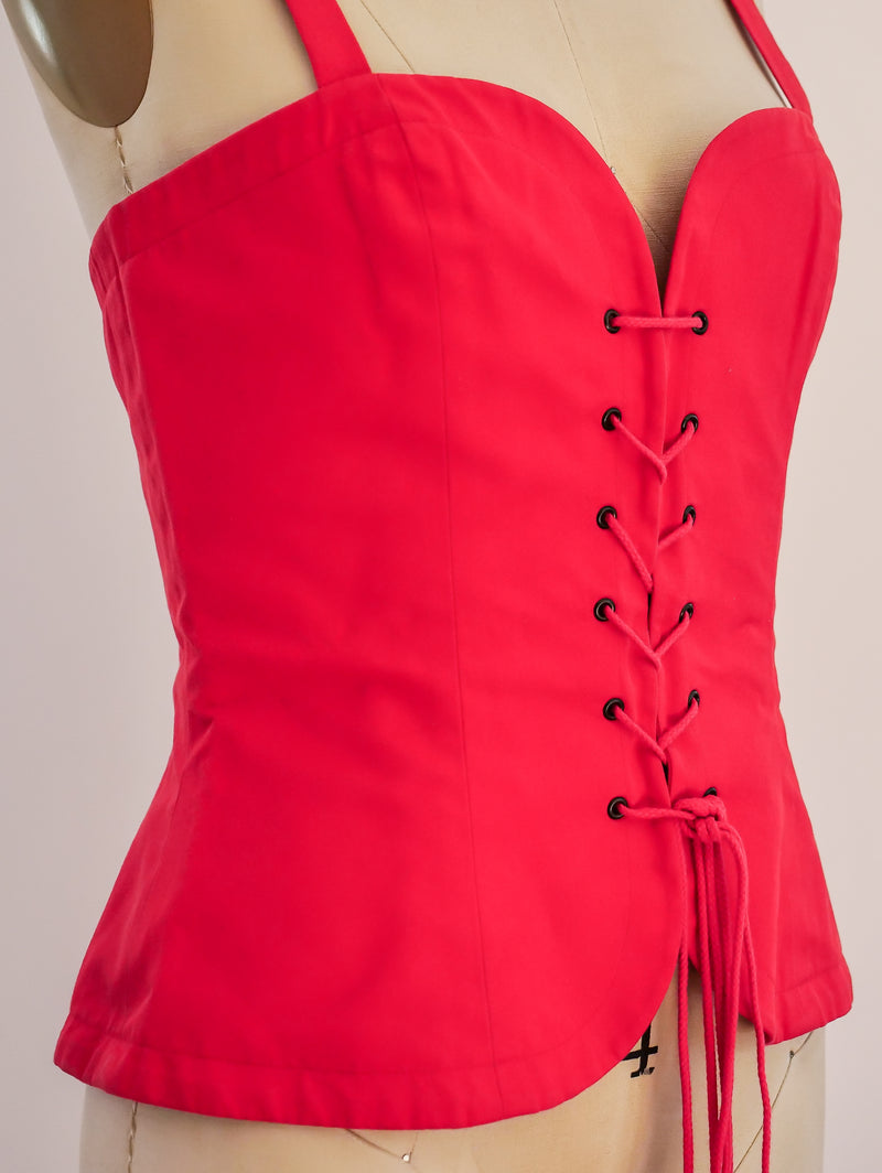 Yves Saint Laurent Red Lace Up Bustier