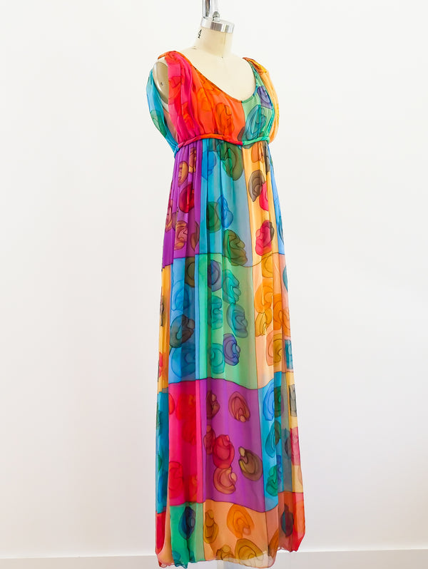 Galanos Hand Painted Silk Chiffon Gown