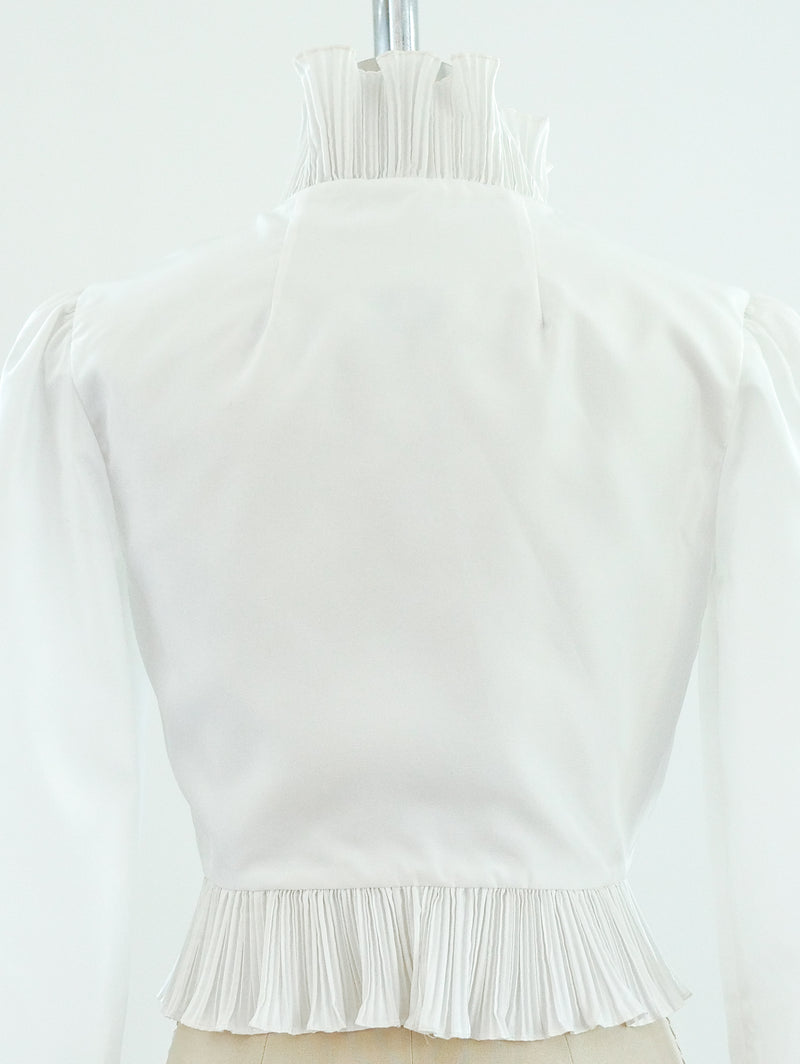 White Pleated Ruffle Top