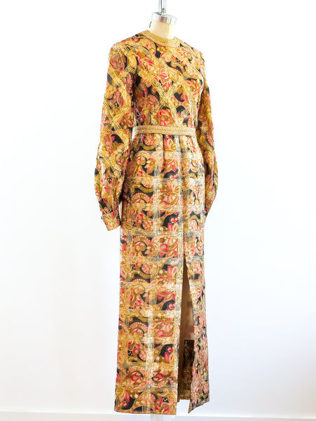 Paisley Maxi Dress with Lurex Check