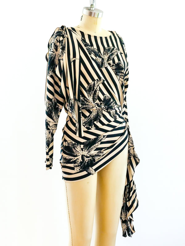 Striped Orchid Print Top