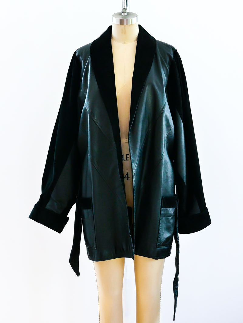 Suede and Leather Belted Coat