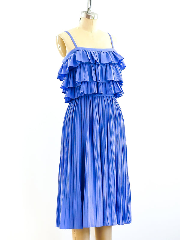 Periwinkle Pleated Ruffle Dress