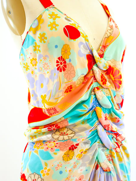 John Galliano Floral Chiffon Dress