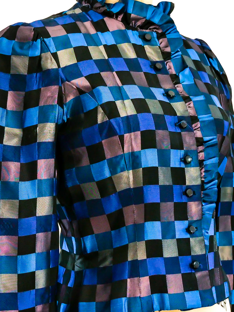 Blue Check Taffeta Jacket