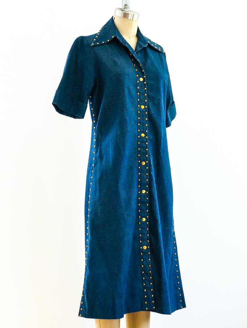 Studded Denim Shirt Dress