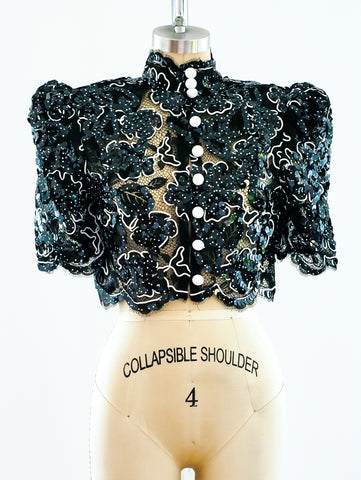Lace and Sequin Crop Jacket