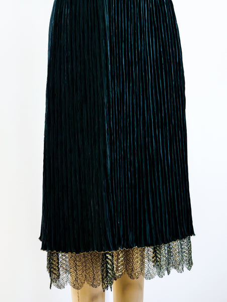 Mary McFadden Lace and Plissé Cocktail Dress