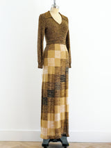 Metallic Check Knit Maxi Dress