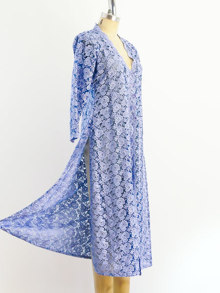 Periwinkle Floral Lace Duster
